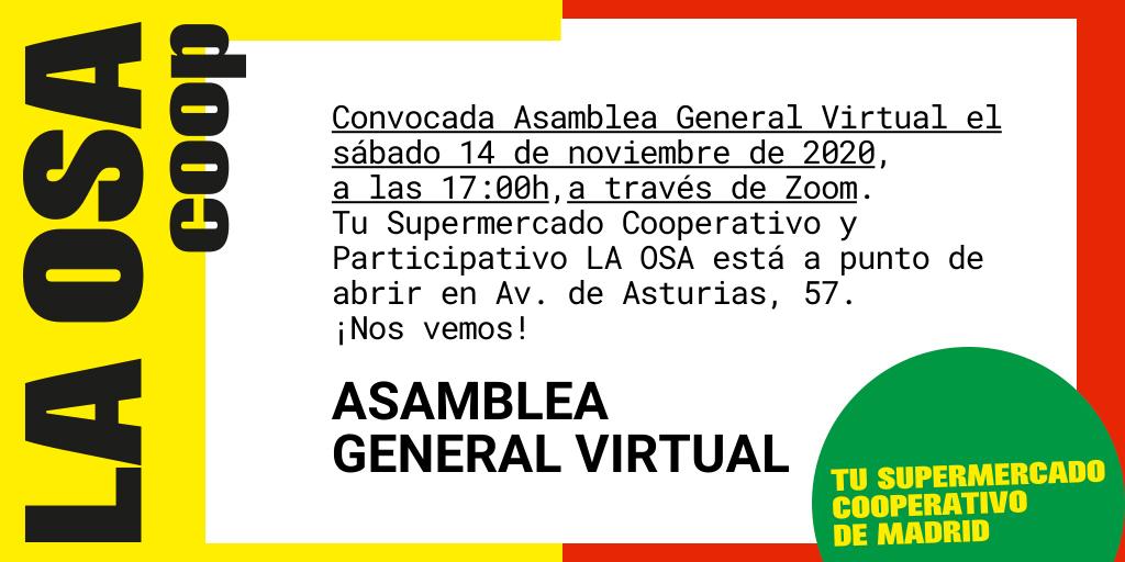 Cartel Asamblea General Virtual 14/11/2020