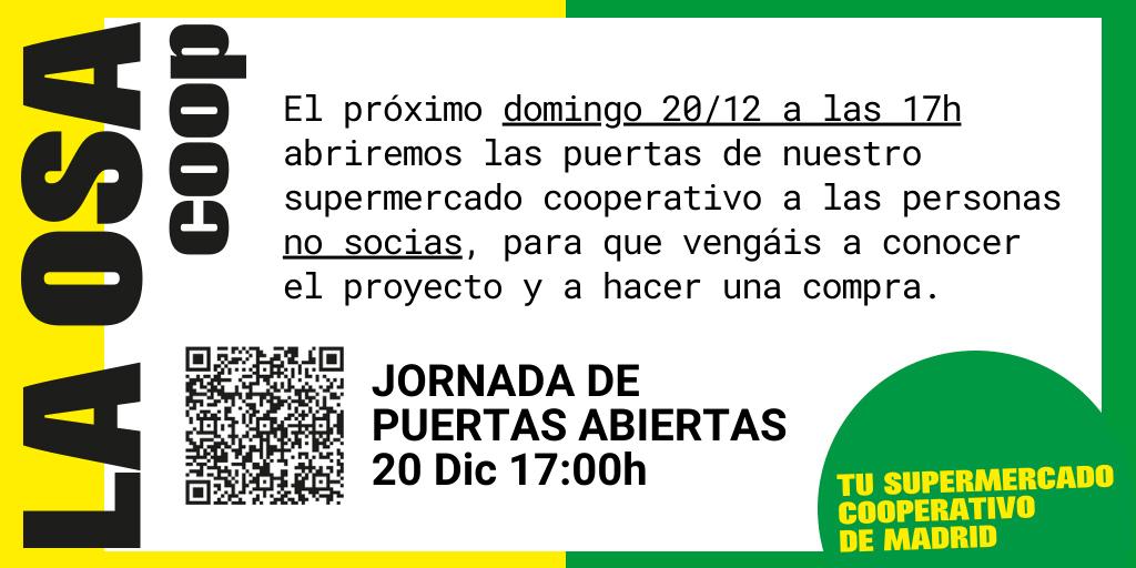 Cartel Jornada de puertas abiertas 20/12/2020